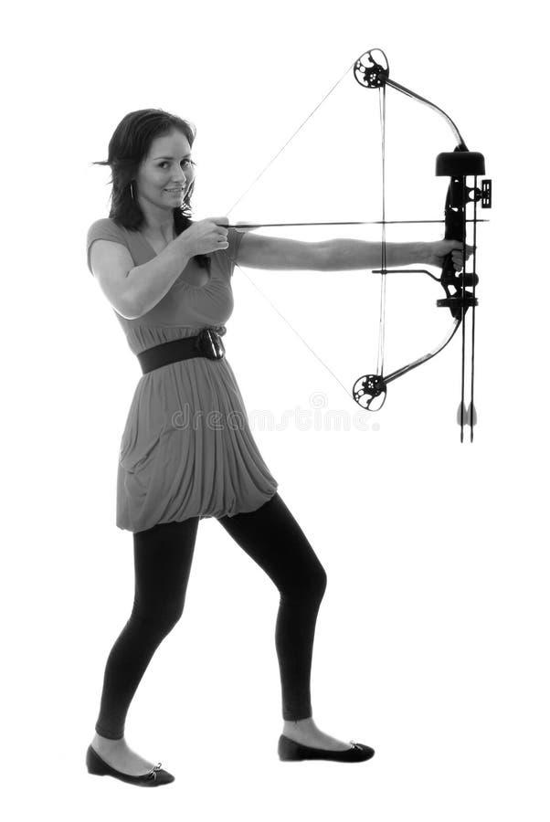 Pretty archer girl royalty free stock photo