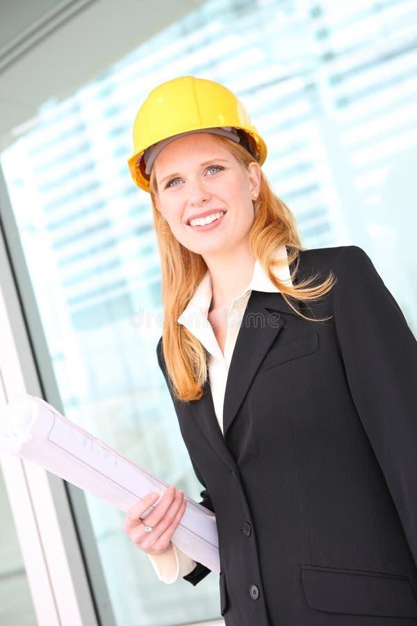 Pretty Architect on Construction Site stock photo