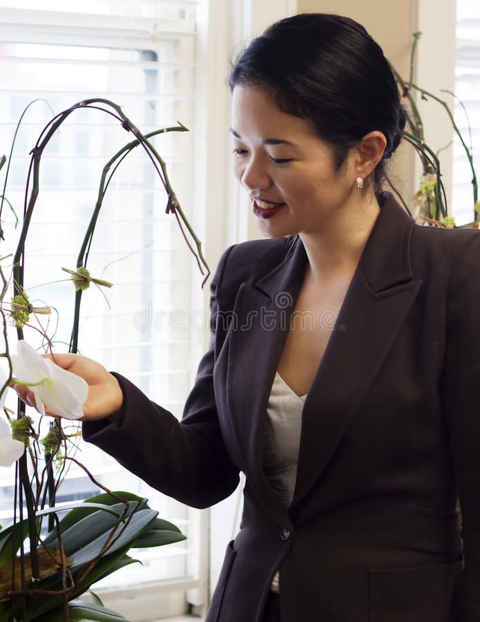 Download Pretty Asian Businesswoman Admiring Office Plants Stock Image - Image: 27971201