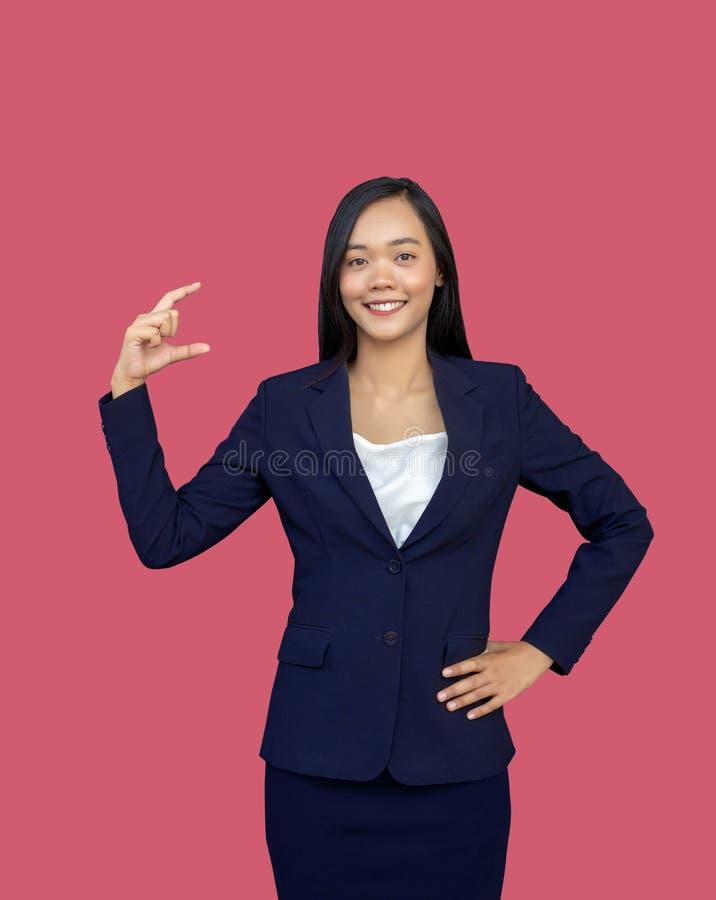 Pretty asian businesswoman open hand present mini product stock image