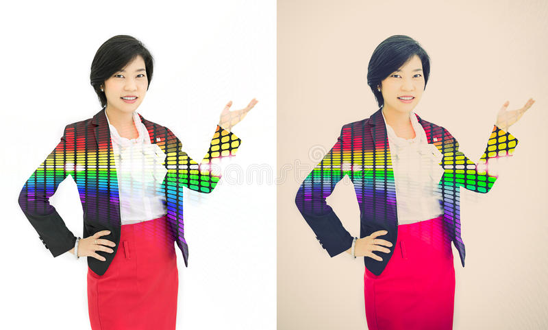 Pretty Asian reporter is posing a presentation gesture in white stock images