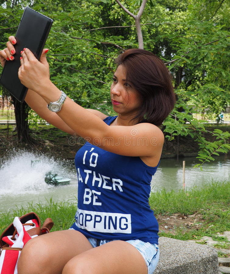 Selfie at the park royalty free stock image