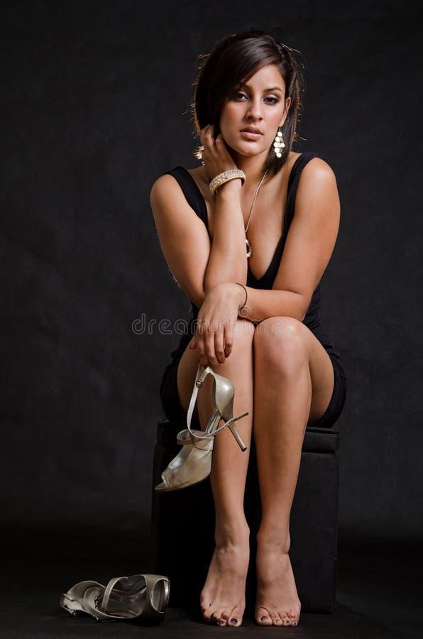 Pretty attractive hispanic american woman stock images