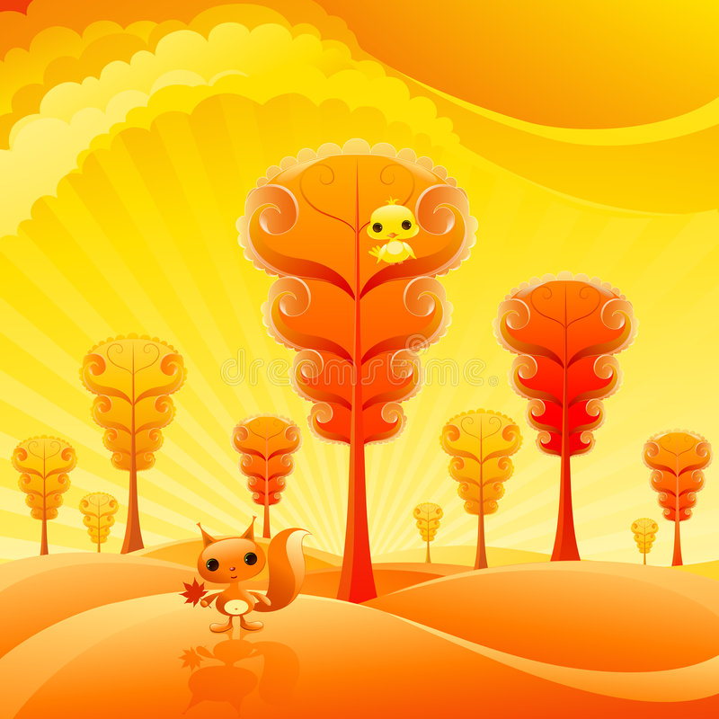 Pretty autumn. Landscape with cute baby animals vector illustration