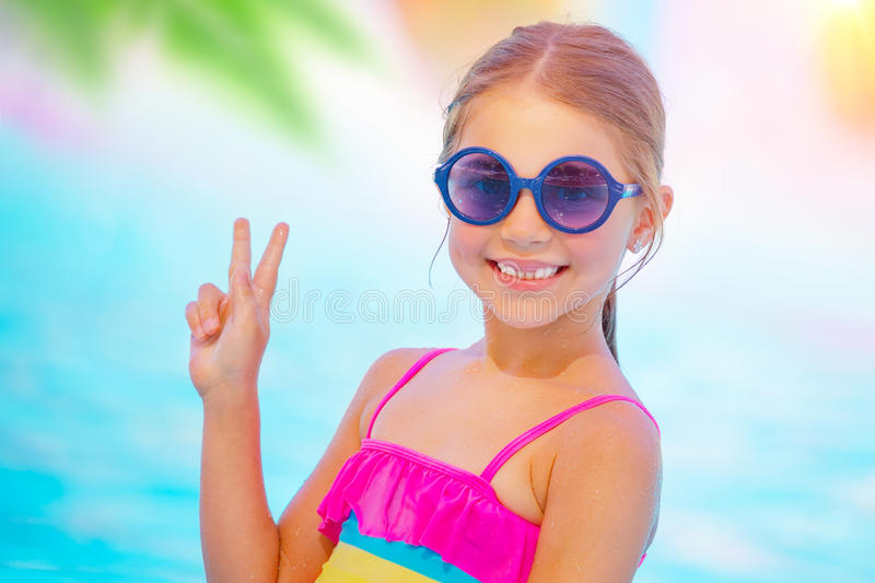 Pretty baby on the beach stock images