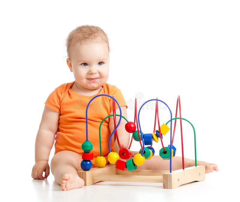 Download Pretty Baby With Color Educational Toy Stock Image - Image: 24237287