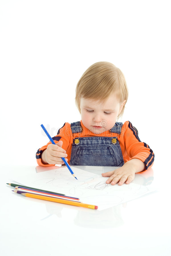 Pretty baby draw color pencil. Over white background stock images