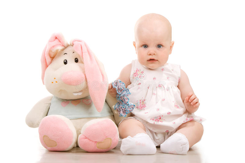 Download Pretty Baby And Rabbit Stock Image - Image: 20675031