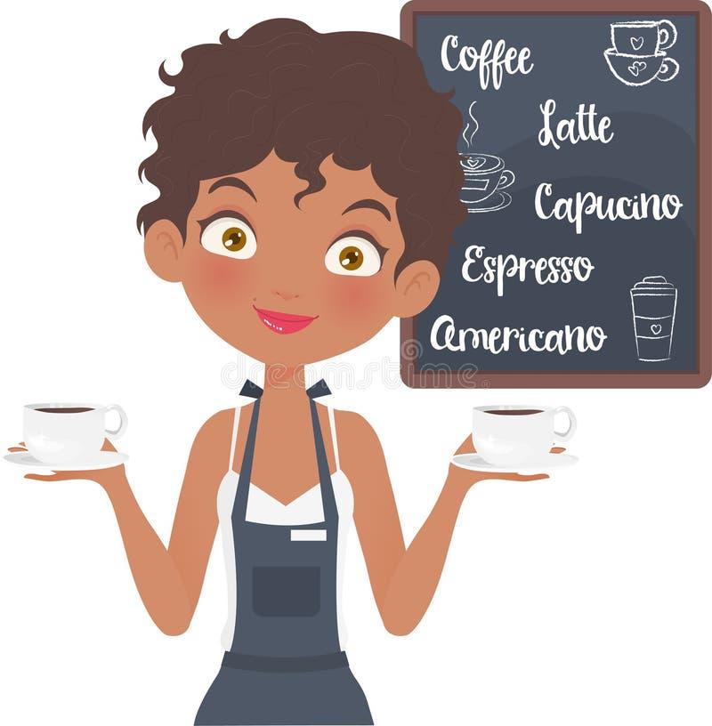 Pretty Barista Girl in her coffee shop vector illustration