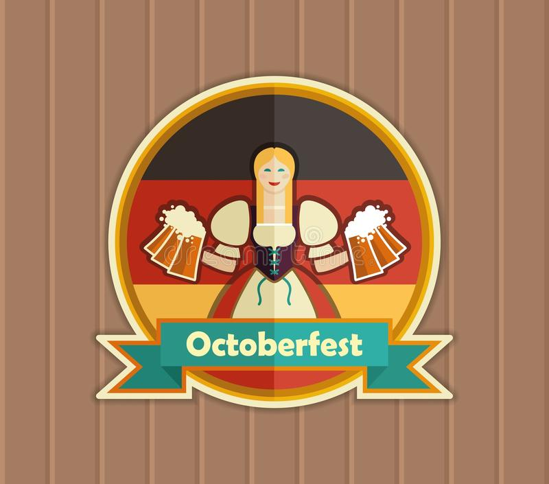 Pretty Bavarian girl with beer. Oktoberfest label. Bavarian girl with beer. Oktoberfest label with ribbon banner and space for text stock illustration