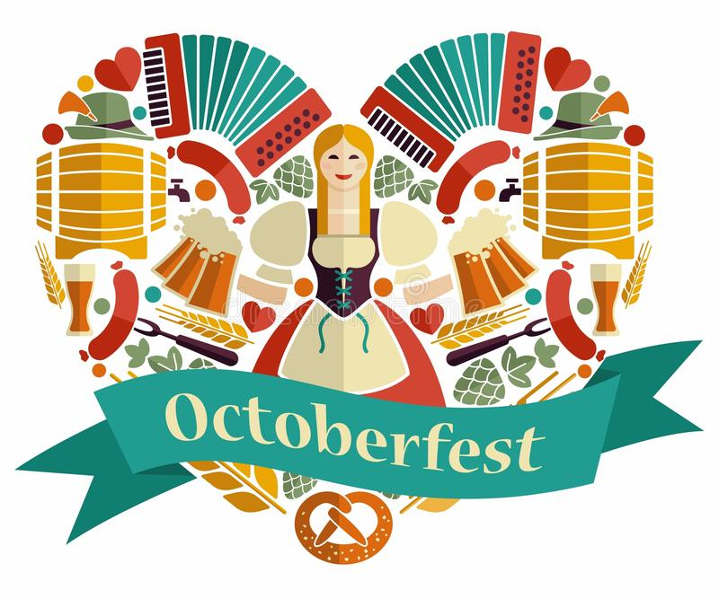 Pretty Bavarian girl with beer. Oktoberfest label. The symbols of the Oktoberfest in the shape of a heart royalty free illustration