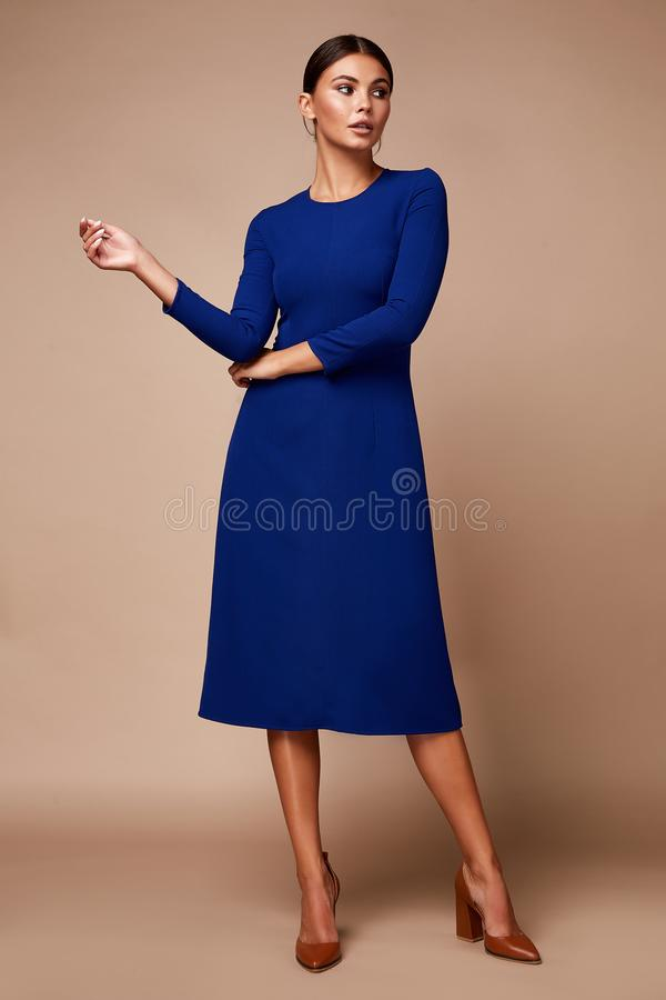 Free Pretty Beautiful Sexy Elegance Woman Skin Tan Body Fashion Model Glamor Pose Wear Trend Dress Casual Clothes Party Fall Winter Royalty Free Stock Photography - 158663947