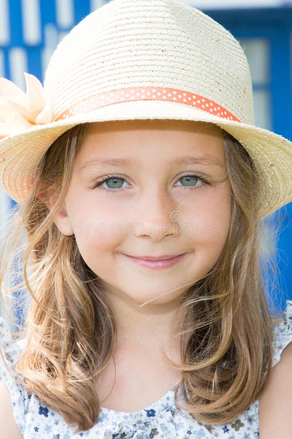 Pretty beautifull young girl child in summer day stock photo