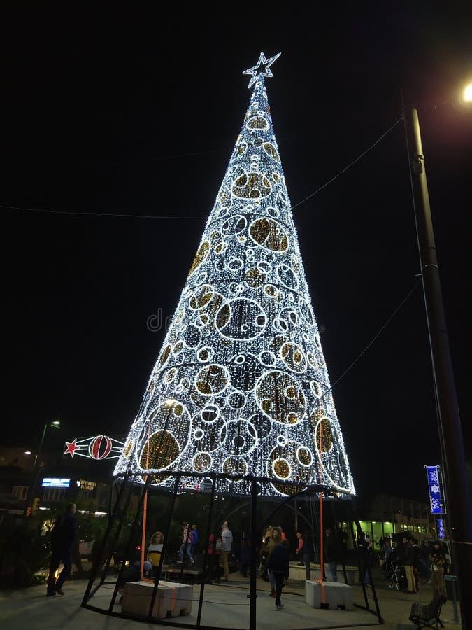 A pretty big Christmas tree stock image
