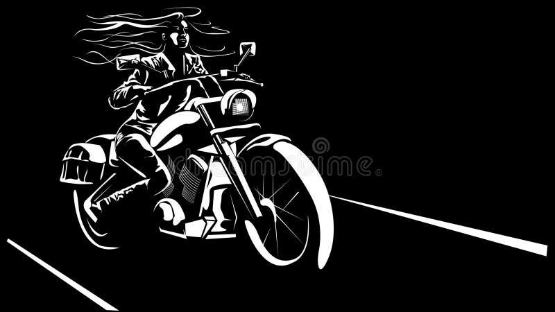 Pretty biker woman. Vector image of pretty biker woman royalty free illustration