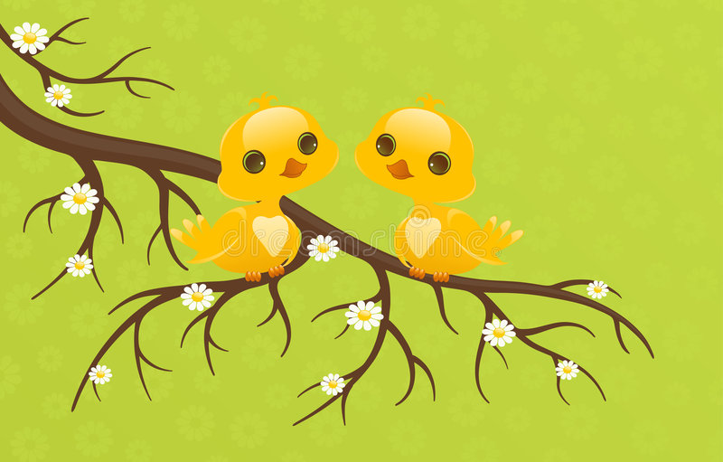 Pretty birds. Cute baby animals royalty free illustration