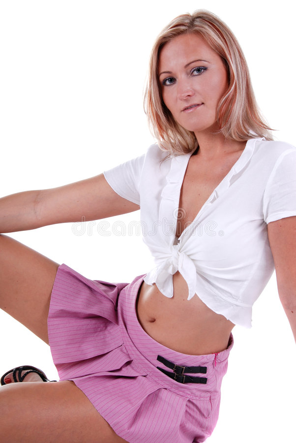 Download Pretty blond. stock image. Image of skirt, pink, beautiful - 7418857