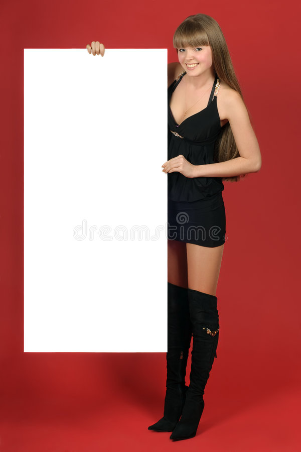 Pretty blond with advertising royalty free stock photo