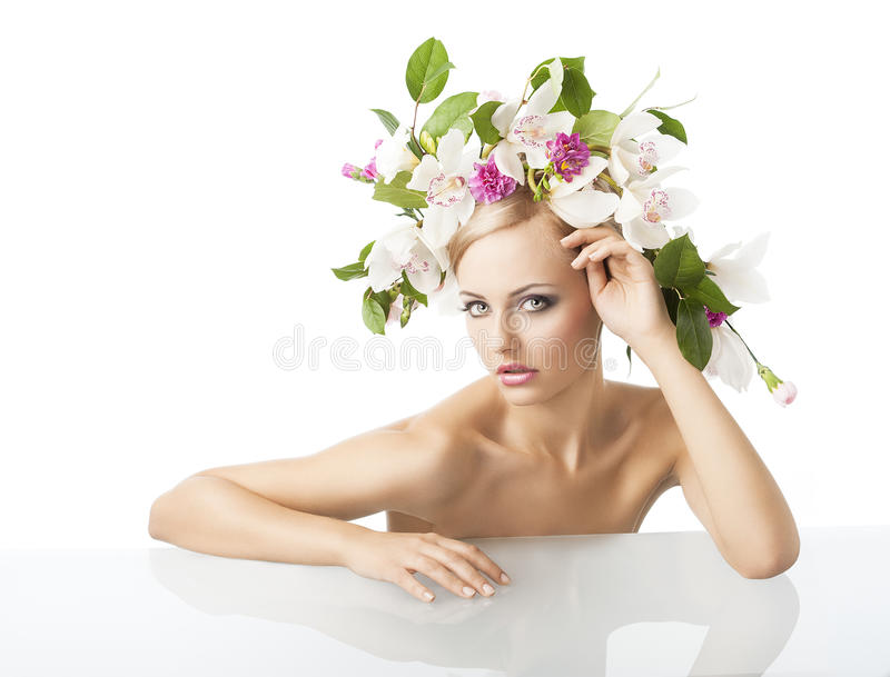 Download Pretty Blond With Flower Crown On Head Stock Image - Image: 22804505