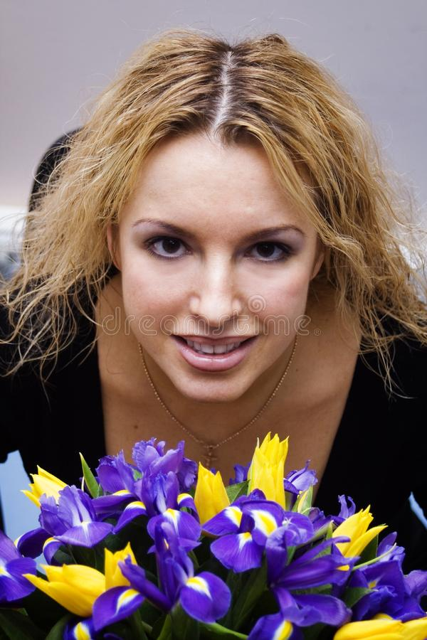 Pretty blond with flowers