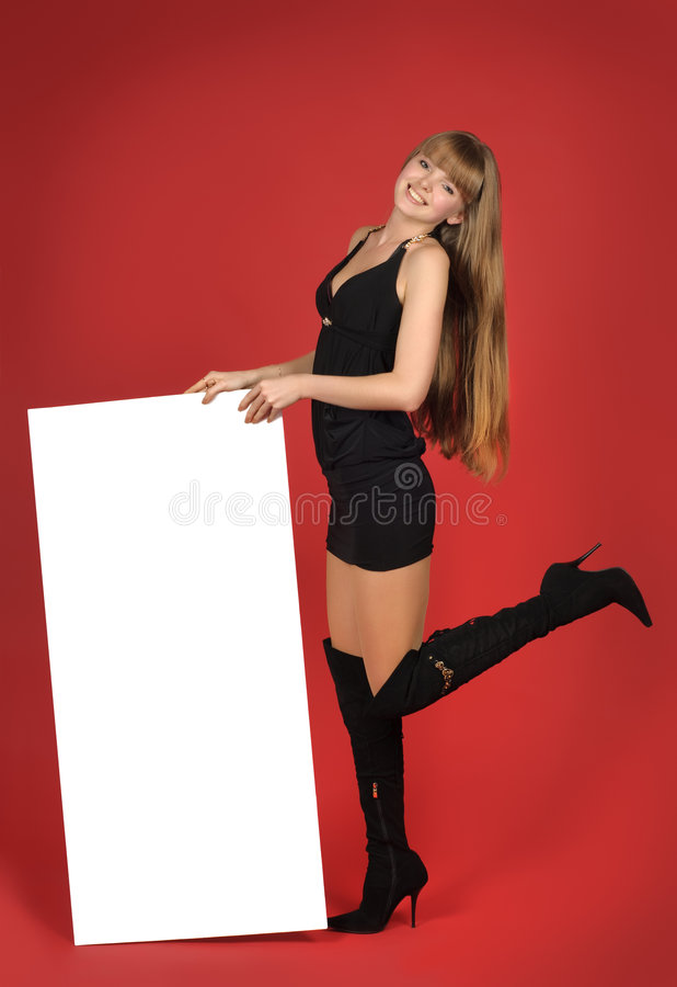 Pretty blond girl with advertising stock images