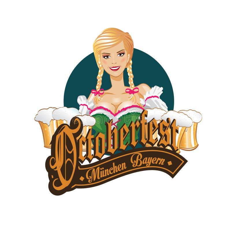 Pretty blond girl with beer, Oktoberfest logo design. royalty free illustration