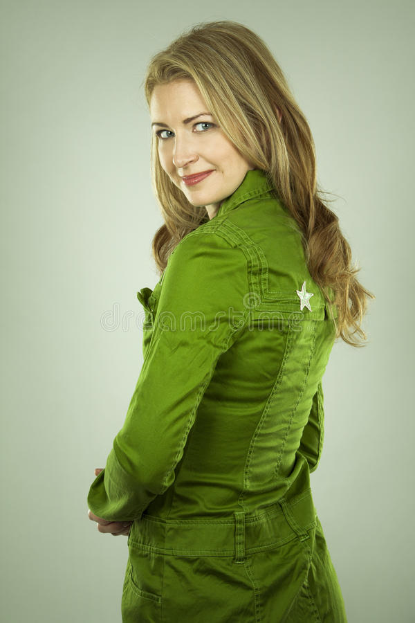 Woman in green royalty free stock images