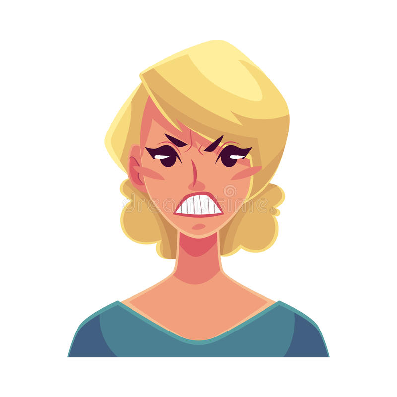 Pretty blond woman, angry facial expression vector illustration