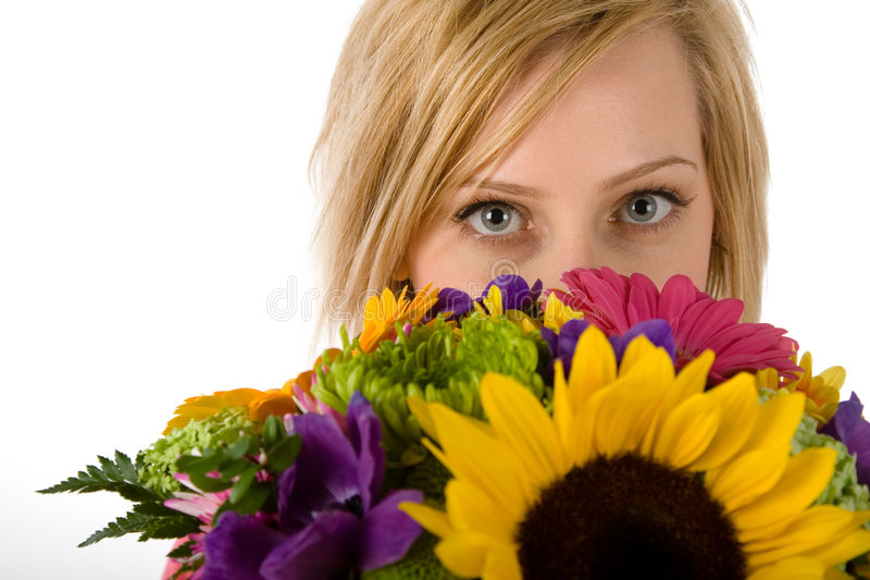 Download Pretty Blond Woman And Flowers Stock Photo - Image: 2248270