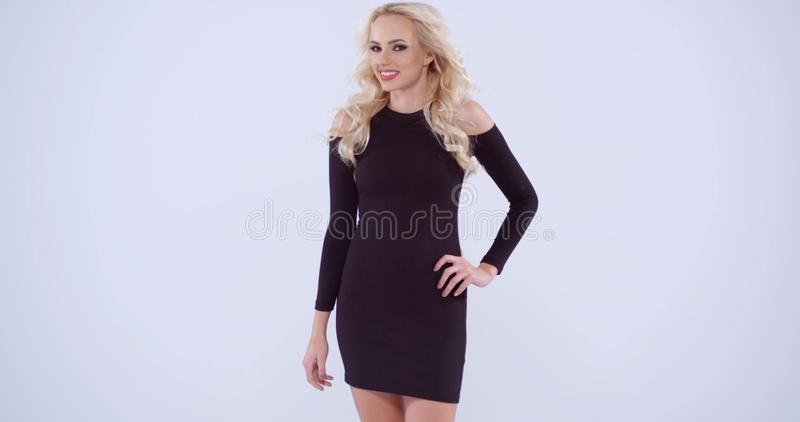 Pretty Blond Woman In A Black Dress Stock Video Video Of Posing