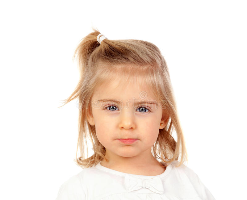 Pretty blonde baby girl with blue eyes royalty free stock photos