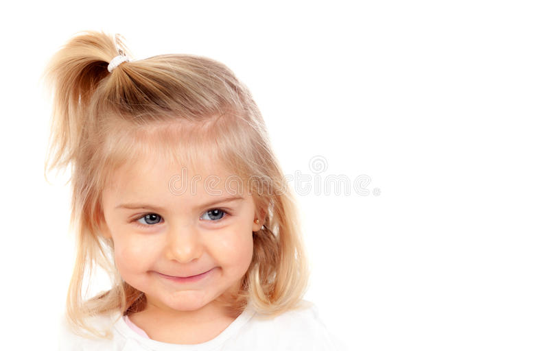 Pretty blonde baby girl with blue eyes stock photos