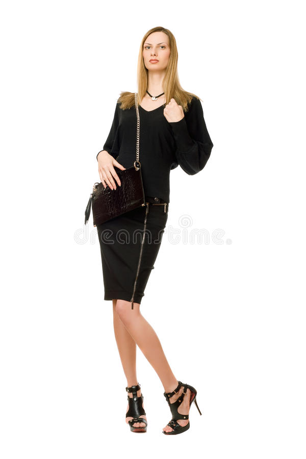 Blonde in black with the purse stock images