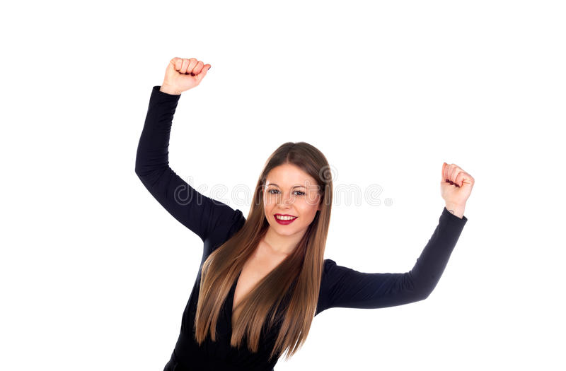 Pretty blonde girl with arms up celebrating something royalty free stock image