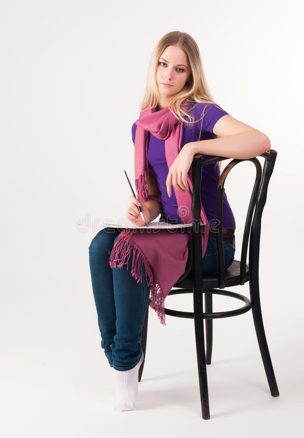 Download Pretty Blonde Girl On Chair Stock Photo - Image: 33452660