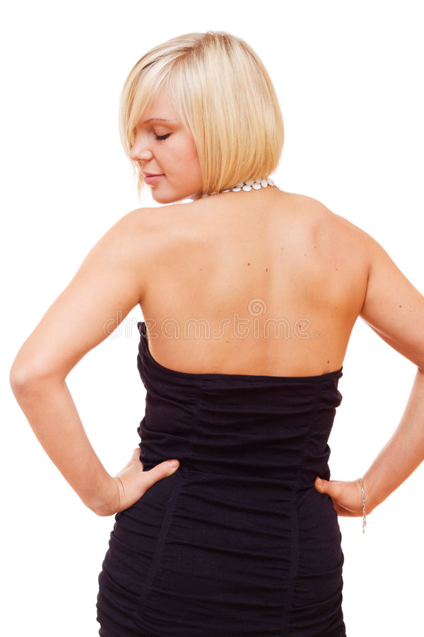 Pretty blonde girl looking back royalty free stock photos