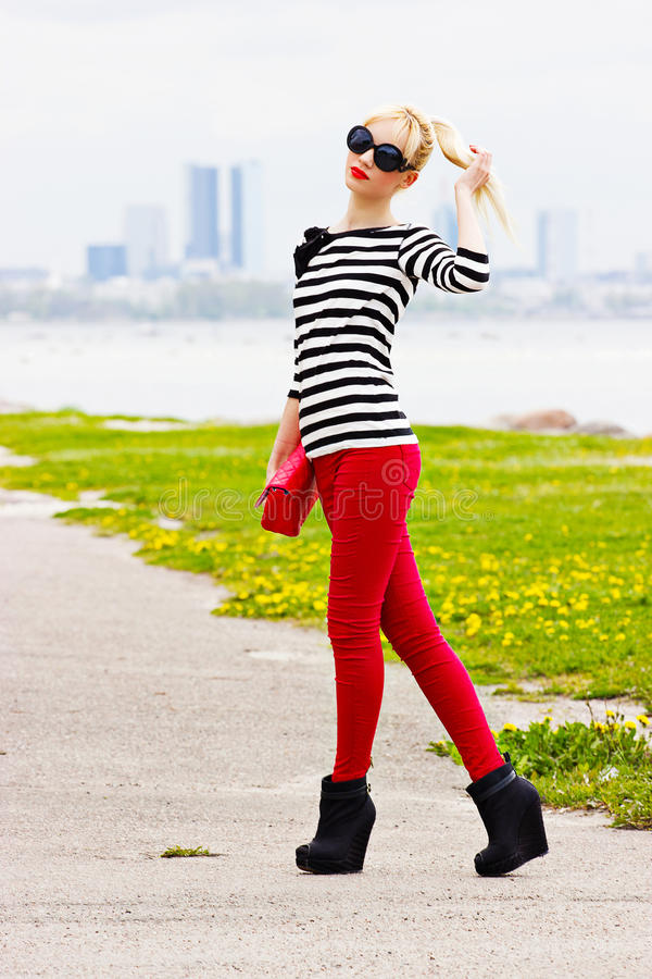 Pretty blonde girl outdoor royalty free stock photo
