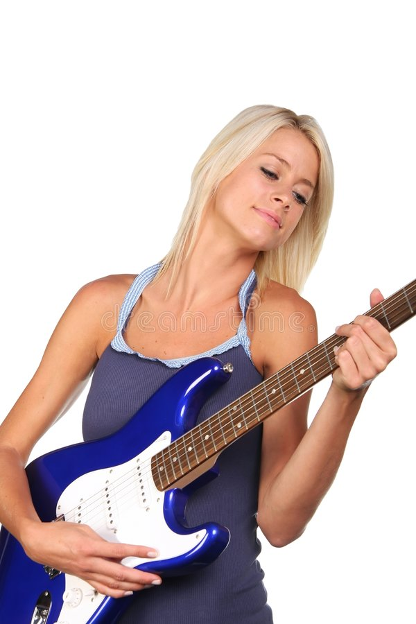 Pretty Blonde Guitar Player Royalty Free Stock Image