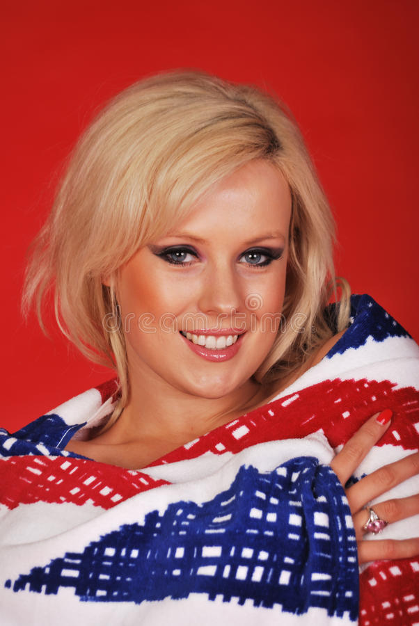 Download Pretty Blonde Head In Towel Stock Photo - Image of flag, towel: 19454062