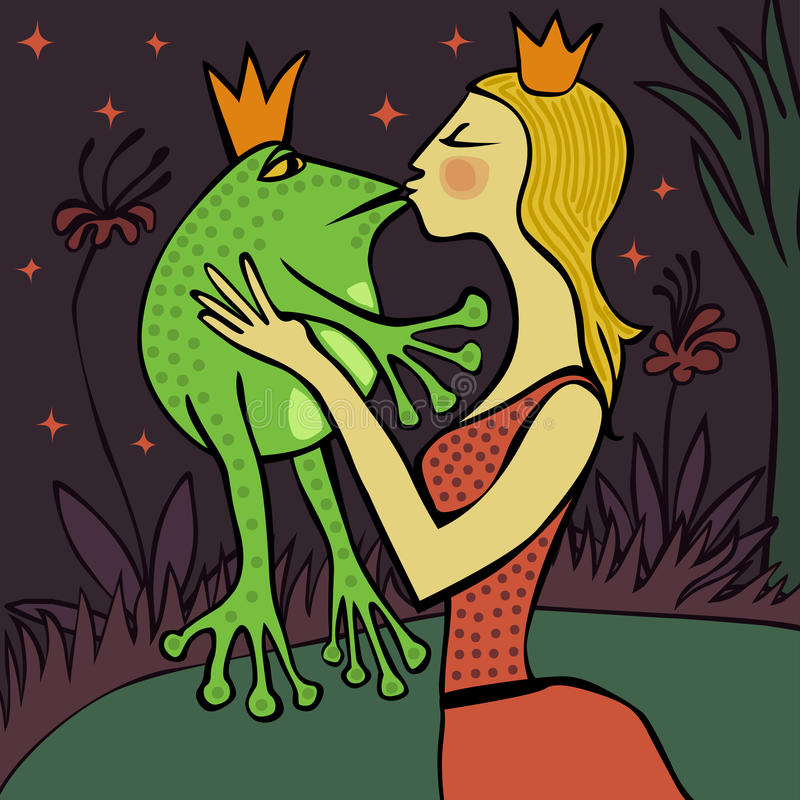 Pretty blonde princess kissing a frog. Whimsical love illustration of a pretty blonde princess kissing a frog in the night by the lake royalty free illustration