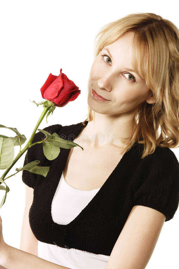 Download Pretty Blonde With Rose Flower Stock Photography - Image: 10414172