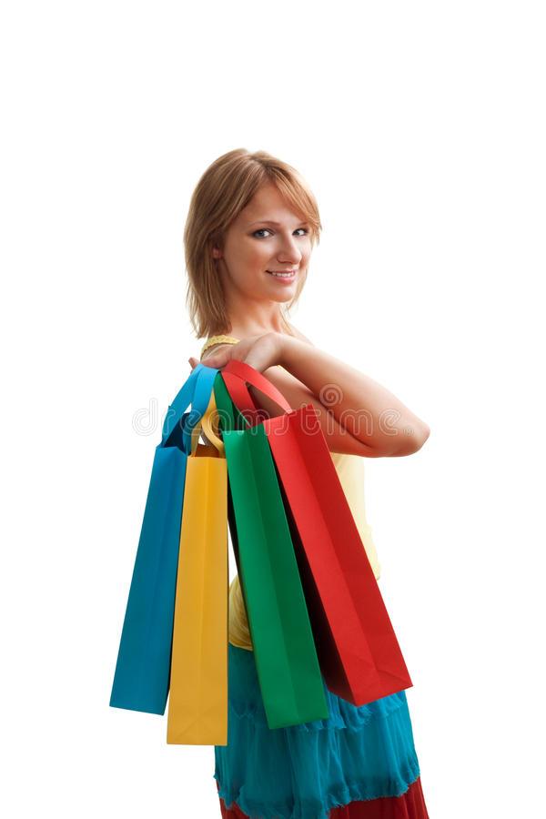 Pretty blonde after shopping stock image