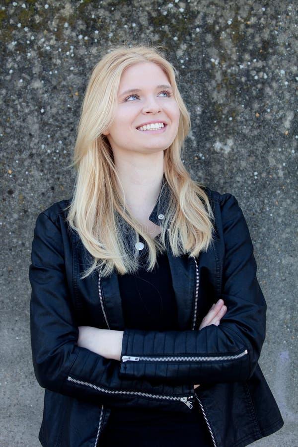Pretty Blonde Single Woman Portrait Outdoors Stock Photo