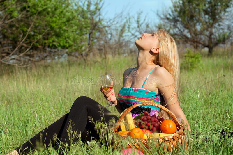 Pretty Blonde With Wineglass Royalty Free Stock Images