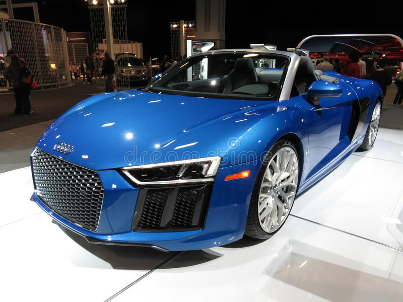 Photo Of Pretty Blue Audi R8 Spyder Convertible At The Washington Dc Auto  Show On 1/28/17 At The Washington Dc Convention Center.