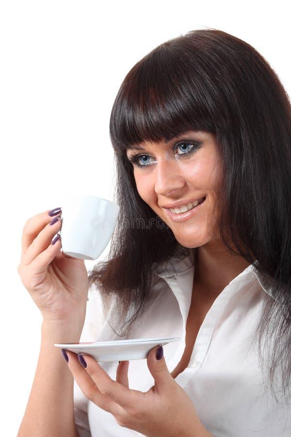 Pretty blue eyes woomen drink coffee royalty free stock photos