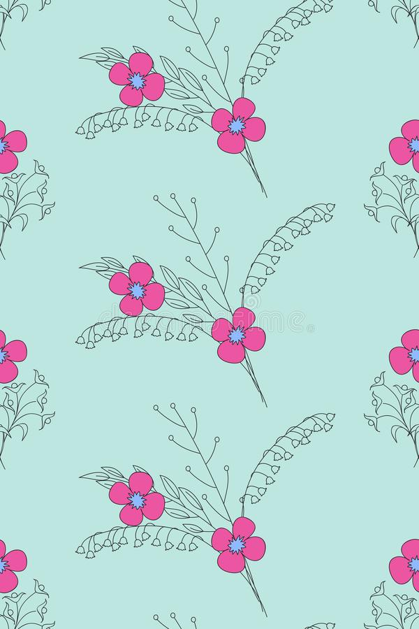 Pretty  blue floral pattern in boho style royalty free illustration