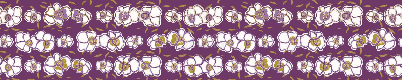 Pretty bold flower pansy blooms border. Seamless repeating. vector illustration