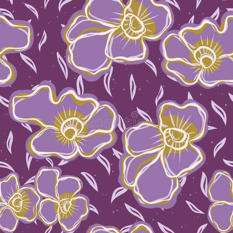 Pretty bold flower pansy blooms pattern. Seamless repeating. royalty free illustration