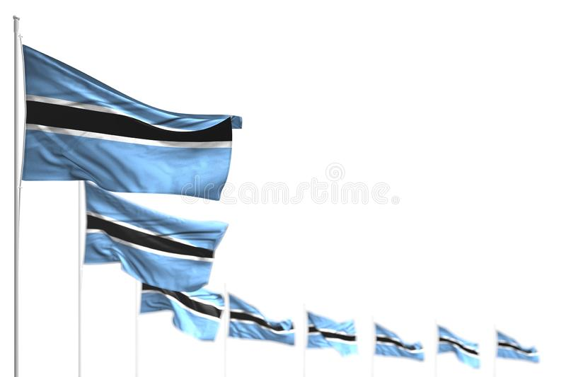 Nice national holiday flag 3d illustration - Botswana isolated flags placed diagonal, photo with selective focus and space for. Pretty Botswana isolated flags royalty free illustration
